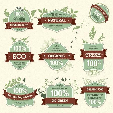 org�nico: Conjunto de etiquetas de alta calidad natural de calidad