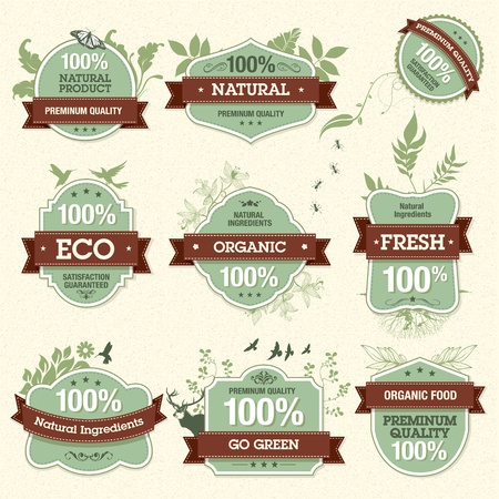 Set of Natural Premium Quality Labels  Vector