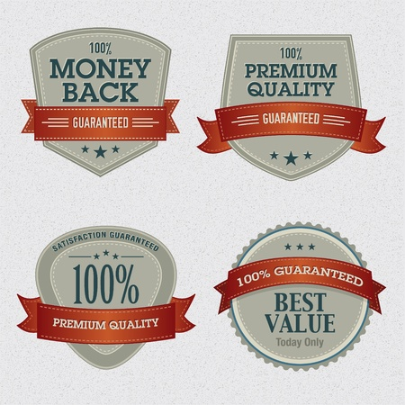 satisfaction guarantee: Set of Premium Quality Labels