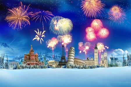 new year background: Travel - New year around the world