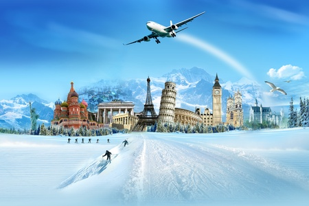 Travel - winter vacation, world monuments and mountains photo