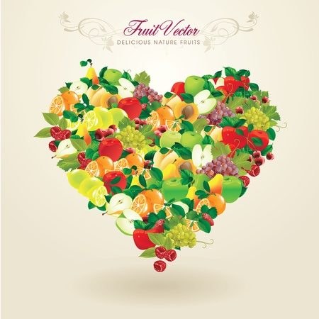 wellness background: Delicious heart-shaped fruits Illustration
