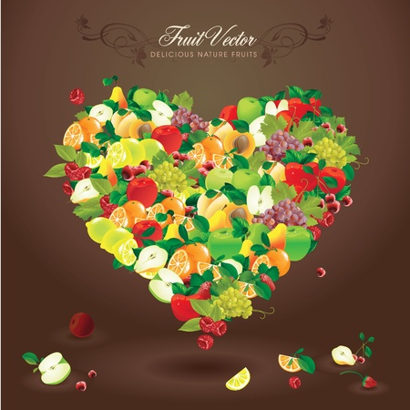 Delicious natural fruits Vector