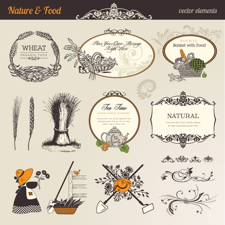 Nature & food vector elements Vector