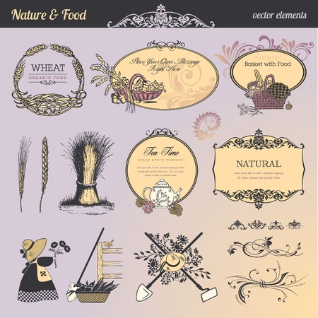 Set of vintage elements and labels for food and drink Illustration