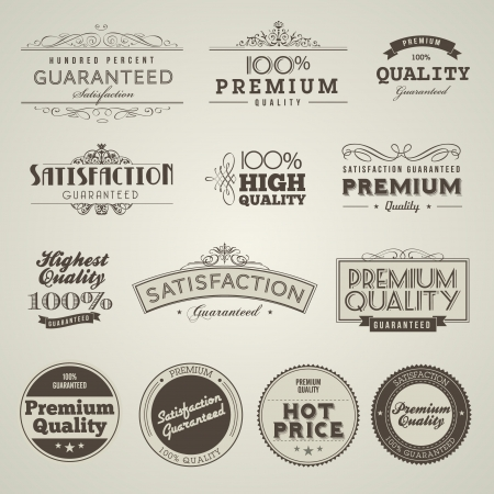 food label: Vintage Styled Premium Quality labels Illustration