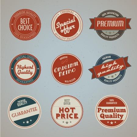 Set of vintage styled premium quality labels Stock Illustratie