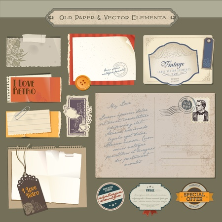 Collection of vintage paper and vector elements Vector