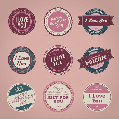 Set of vintage styled Valentines day labels Vector