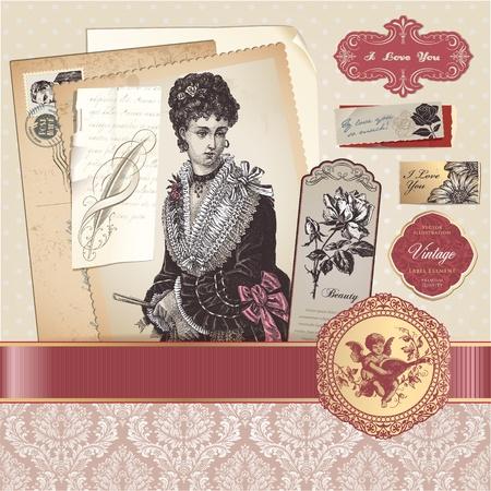 Vintage romantic vector elements Stock Illustratie