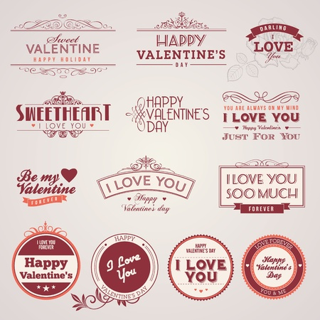 badge ribbon: Set of vintage Valentine Illustration