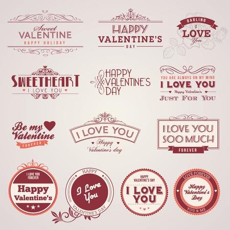 Set of vintage Valentine Stock Illustratie