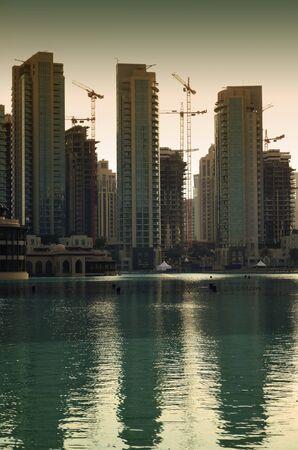 Dubai city at sunset photo
