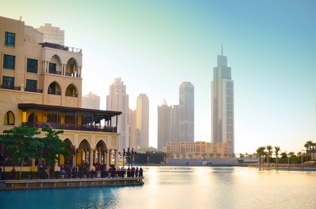 Dubai downtown at sunset  photo