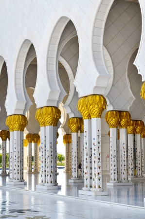 zayed: Sheikh Zayed Mosque in Abu Dhabi, United Arab Emirates - detail of columns