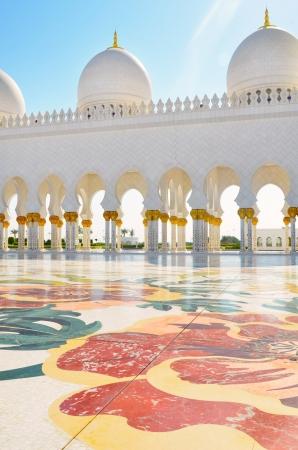 Verenigde Arabische Emiraten: Detail van de Sheikh Zayed Moskee in Abu Dhabi, Verenigde Arabische Emiraten Stockfoto