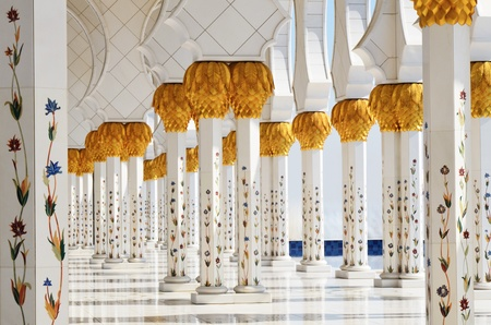 Columns of Sheikh Zayed Mosque in Abu Dhabi, UAE  photo