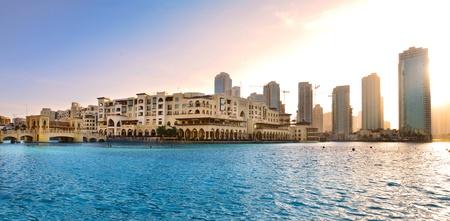 Dubai downtown at sunset  photo