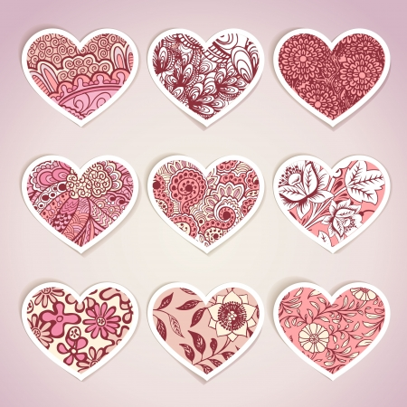 Set of heart shaped labels Vector