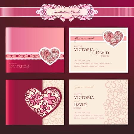 Set of wedding invitation cards Stock Illustratie