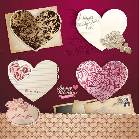 Valentines day hearts and elements – vintage design Vector