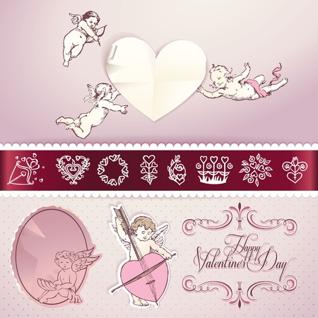 Set of love elements for Valentines day,wedding, love letter, web and print materials Illustration