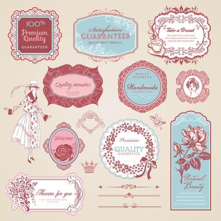 Colección de etiquetas y elementos de época Ilustración de vector