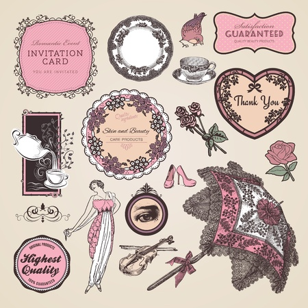 Set of vintage labels and elements Vector