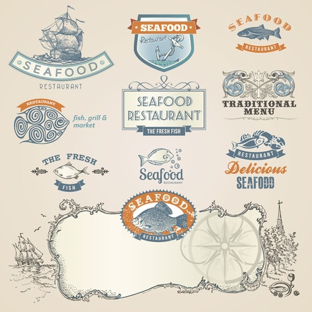 Seafood labels and elements Vector