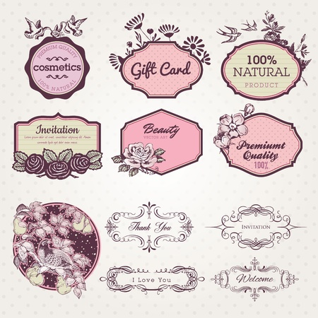 cosmetics collection: Set of labels and elements