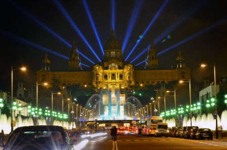 Famous light show in front of the National Art Museum in Barcelona, Spain