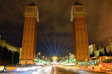 Venetian Towers on Plaza de Espana, Barcelona and famous light show