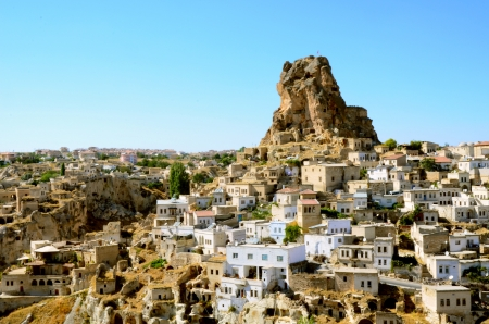 Ortahisar cave city in Capapdocia, Turkey