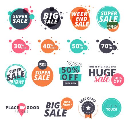 Conjunto de pegatinas de venta de diseño plano. ilustraciones para las compras en línea, promociones de productos, sitio web y sitios web para móviles insignias, anuncios, material de impresión.