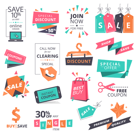 Set of flat design style badges and coupons for shopping. illustrations for website and mobile website, product promotion, sale template, ads, print material.