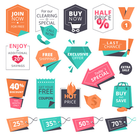 Set of flat design style badges and labels for shopping. illustrations for website and mobile website, product promotion, sale template, ads, print material.
