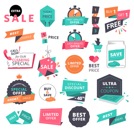 Set of flat design style badges and elements for shopping. illustrations for website and mobile website, product promotion, sale template, ads, coupons, print material.