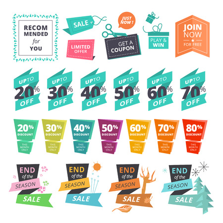 Set of flat design style stickers and ribbons for shopping. illustrations for website and mobile website, product promotion, sale template, ads, coupons, print material.