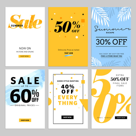 Social media sale and ads web template collection. illustrations for website and mobile website , posters, email and newsletter designs, ads, promotional material. Vectores