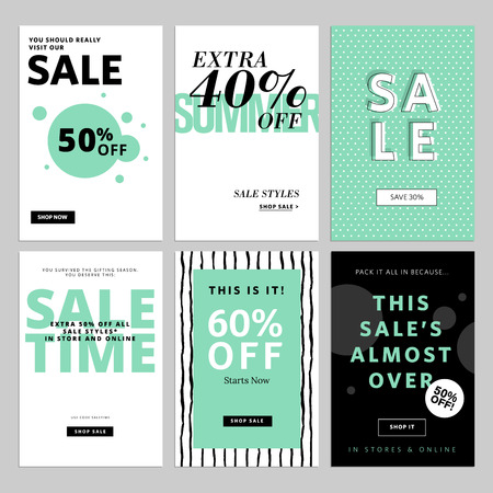 Set of website and emails for sale. illustrations for website and mobile website  posters, email and newsletter designs, ads, promotional material. Vettoriali