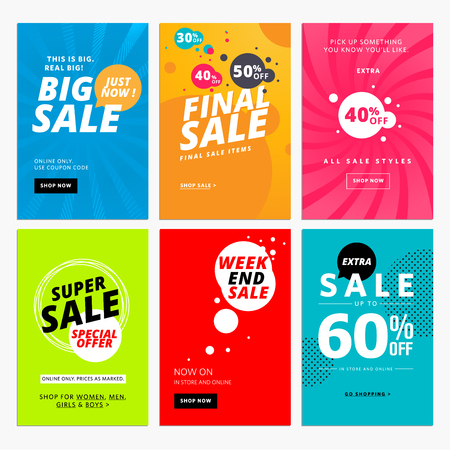 save money: Set of sale website templates. illustrations for social media  posters, email and newsletter designs, ads, promotional material.
