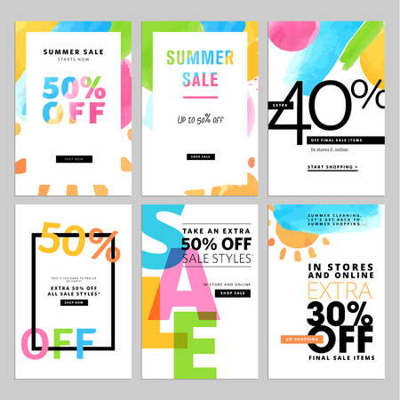 Set of social media sale template.illustrations for website and mobile website  posters, email and newsletter designs, ads, promotional material. Stock Illustratie