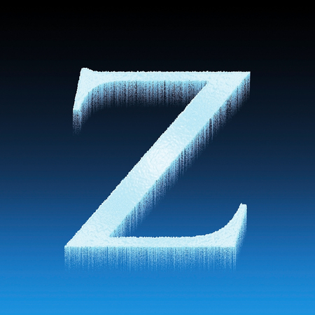 Z ice letter font frozen isolated over blue background photo