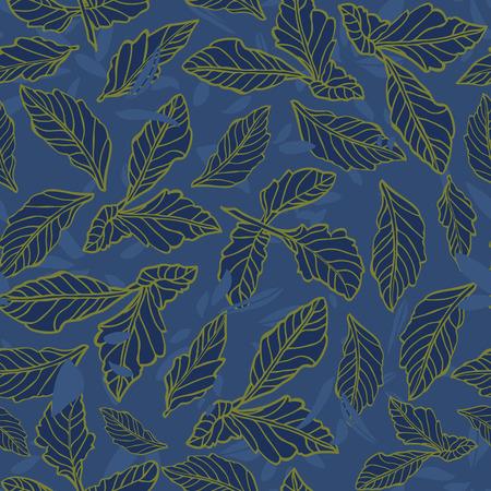 Dark blue dahlia leaf floral pattern. Surface pattern design.