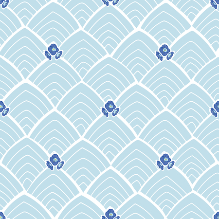 Blue japan inspired abstract pattern with flowers and white lines.