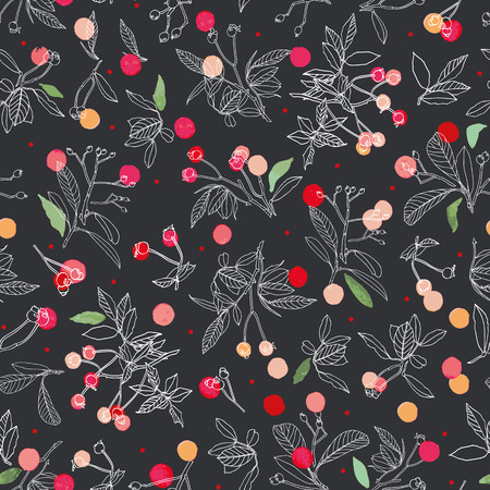 Black vector repeat pattern with white line art, rose plant, buds, dots and stars. Christmas pattern. Nursery. Surface pattern design.