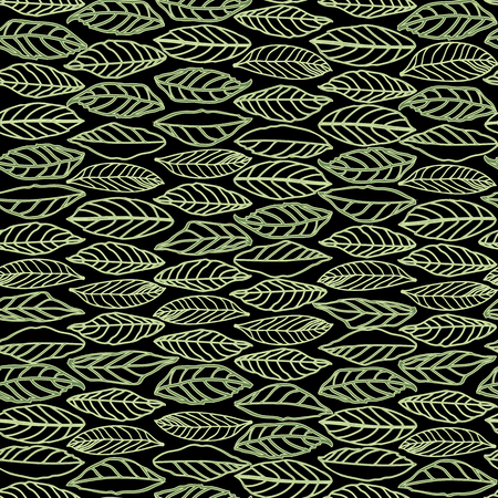 Black vector repeat pattern with green line art structured leaves in rows. Surface pattern design.
