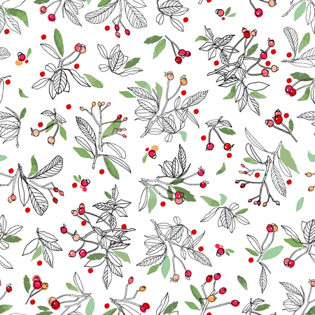 White vector repeat pattern with red winter berries. Doodle style line art with watercolor details. Christmas Pattern.