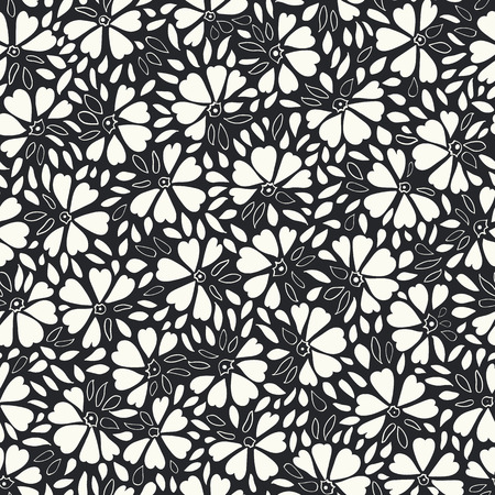 White and black vector repeat pattern with abstract flowers and leaves. Elegant and festive version. Surface pattern design. Illustration
