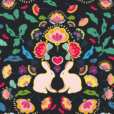 Black folk art floral repeat pattern with pink rabbit. Surface pattern design.